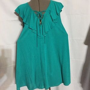 Rue+ 3X.  green sleeveless top with ruffle